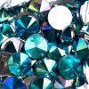 Acrylic Rivoli Flat Back Rhinestones 14mm Turquoise Aurora Borealis 200pcs/bag